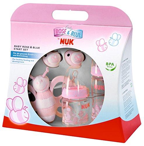 NUK 10260192 - Baby Rose Startset mit zwei Trinkflaschen, zwei Beruhigungssaugern und einer Schmetterlingsrassel