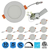 Joinshare 4 inch Round Dim 9w LED Slim Pot Light/Celling Inset Panel with White Recessed Trim 10Pack(Natural White 4000K)