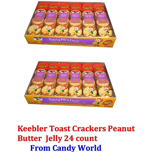 Keebler Toast (24 PACK) Peanut Butter and Jelly Sandwich Crackers Made with Real Peanut Butter and Jelly Flavored Twelve 1.8 Ounce (Keebler Toast)