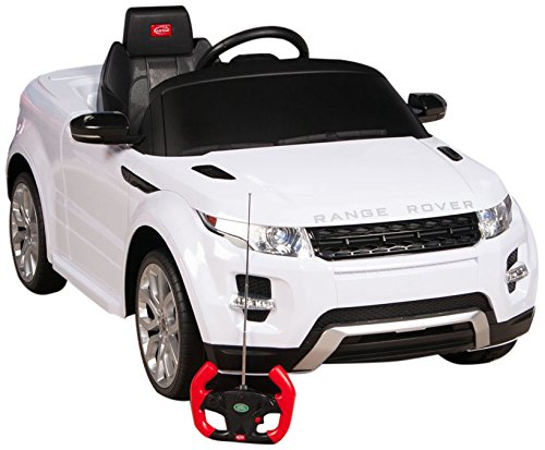 RastarUSA Range Rover Evoque Battery Operated/Remote Controlled Ride on Car with Mat and Key Chain, 12V, White