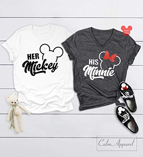 Couple Shirts, Her Mickey His Minnie Shirts, Cute Couple Matching Shirt, Ladies Summer Tanks -