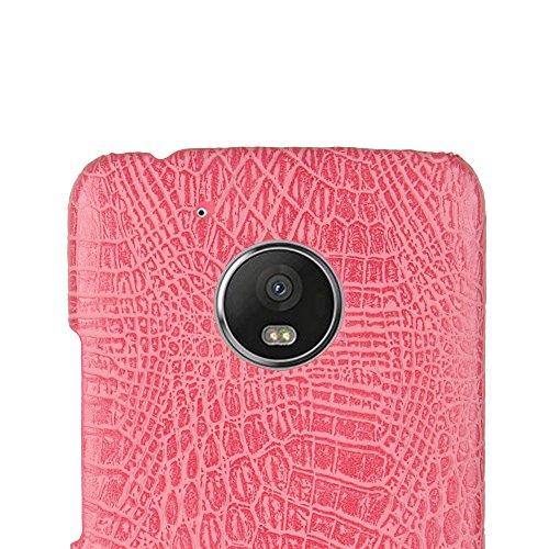Funda Moto G5 Plus, SunFay Funda Posterior Protector de PC Carcasa Back Cover de Parachoques Piel PU Protectora de Teléfono Para Mototrola Moto G5 Plus - Marron Rosa