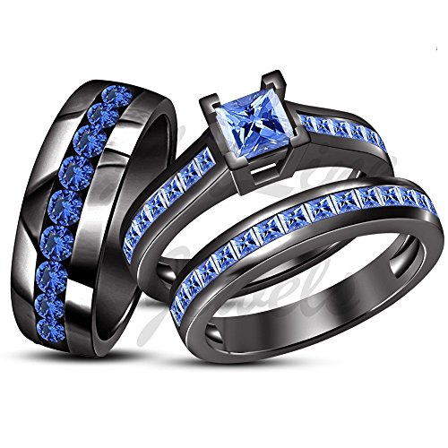 ArtLine Jewels Black Gold Fn Men Women His Her Princess Blue Sapphire Engagement Wedding Trio Ring Set by ArtLine Jewels