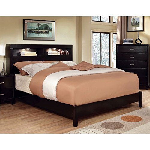 Bookcase Queen Headboard Bed (Furniture of America Metro Platform Bed with Bookcase Headboard and Light Design, Queen, Espresso)
