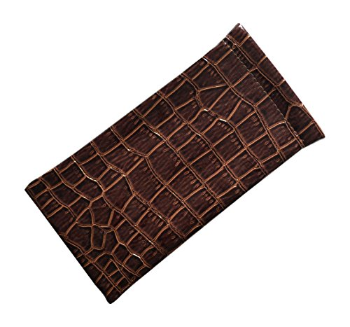 Shiny Patent Leather Eyeglass Case Spring Top Chic Faux Crocodile Brown
