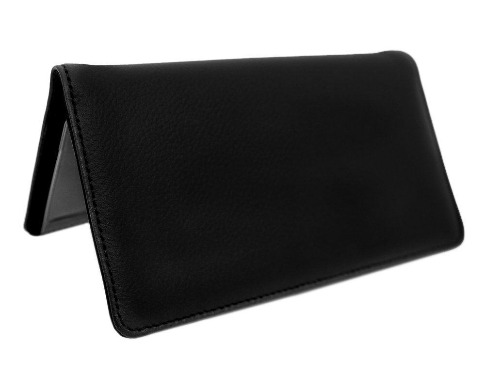 Snaptotes Black Smooth Top Grain Soft Leather Checkbook Cover