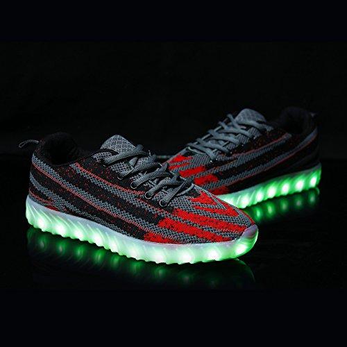 BOKEN Männer Frauen Mode LED Schuhe Atmungs Licht Up USB Lade Blinken Turnschuhe Mit Fernbedienung Grau / Rot
