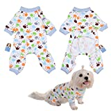 Per Dog Cat Pajamas with Lovely Paw Pattern and Four Feet Design, Pet All Season PJS Jumpsuit for Small and Medium Sized Dog Puppy Cat Kitten - XS/S/M/L/XL
