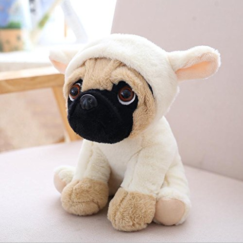 BestKept Toys Stuffed Plush Toy - 8 Inch SharPei turned hat dog doll plush toy simulation belldog Pug Stuffed animals Toys For Children Baby Girls Boy