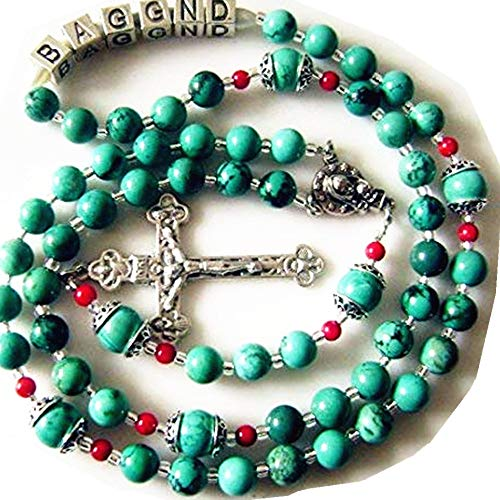- elegantmedical Handmade Tibet Turquoise Beads + Sterling Silver Special Flowe Red Coral Personalized Rosary Gift Name Rosary Necklace Cross