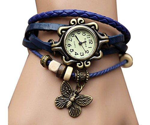 Tricess Women's Fashion Butterfly Pendant Quartz Retro Weave Wrap Around Leather Bracelet Wrist Watch Blue