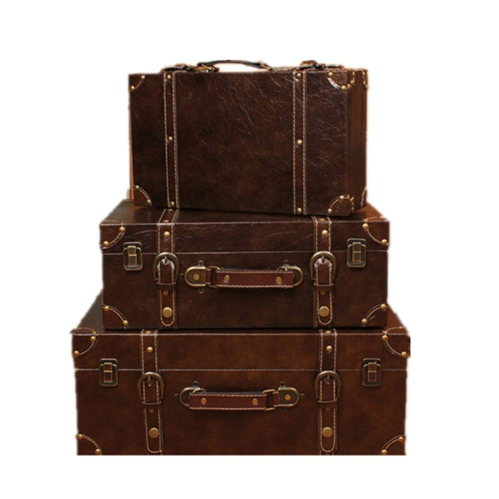 HO-TBO Dekorative Koffer Set 3 Navy Aufbewahrungskoffer Europäische Retro Koffer Anzeige Dekoration-Verzierungen for Schlafzimmer Wohnzimmer Zeigt Crafts (Farbe : Braun, Größe : Large+Middle+small)