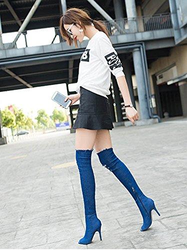 Maybest Donna Denim Coscia Tacco Alto Stivali Sopra Al Ginocchio Peep Toe Stivali Strappati Jeans Stretch Stiletto Partito Scarpe Blu