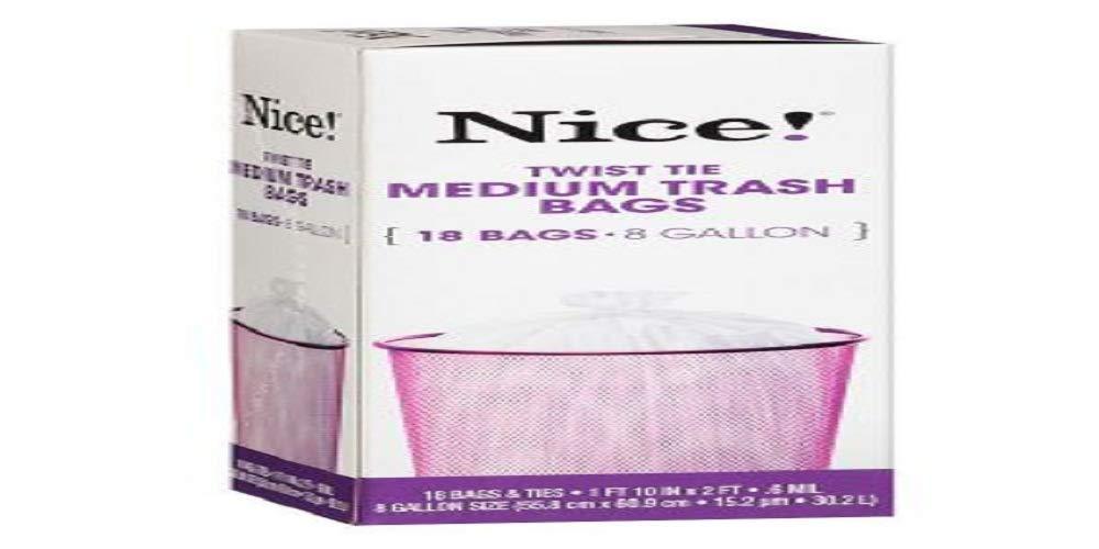 NICE 。ツイストタイMedium Trash Bags 8ガロン18.0 EA (パックof 1 ) B0747C7FYQ