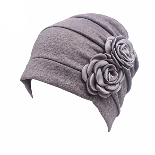 HONENNA Chemo Turban Headband Scarf Beanie Cap Hat for Cancer Patient (Gray) (Best Hats For Cancer Patients)