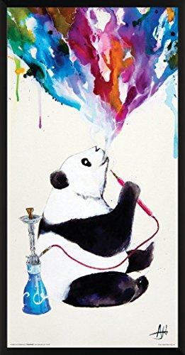 Culturenik Marc Allante Panda Smoking a Hookah Modern Contemporary Animal Decorative Art Print (Framed 12x24 Poster)