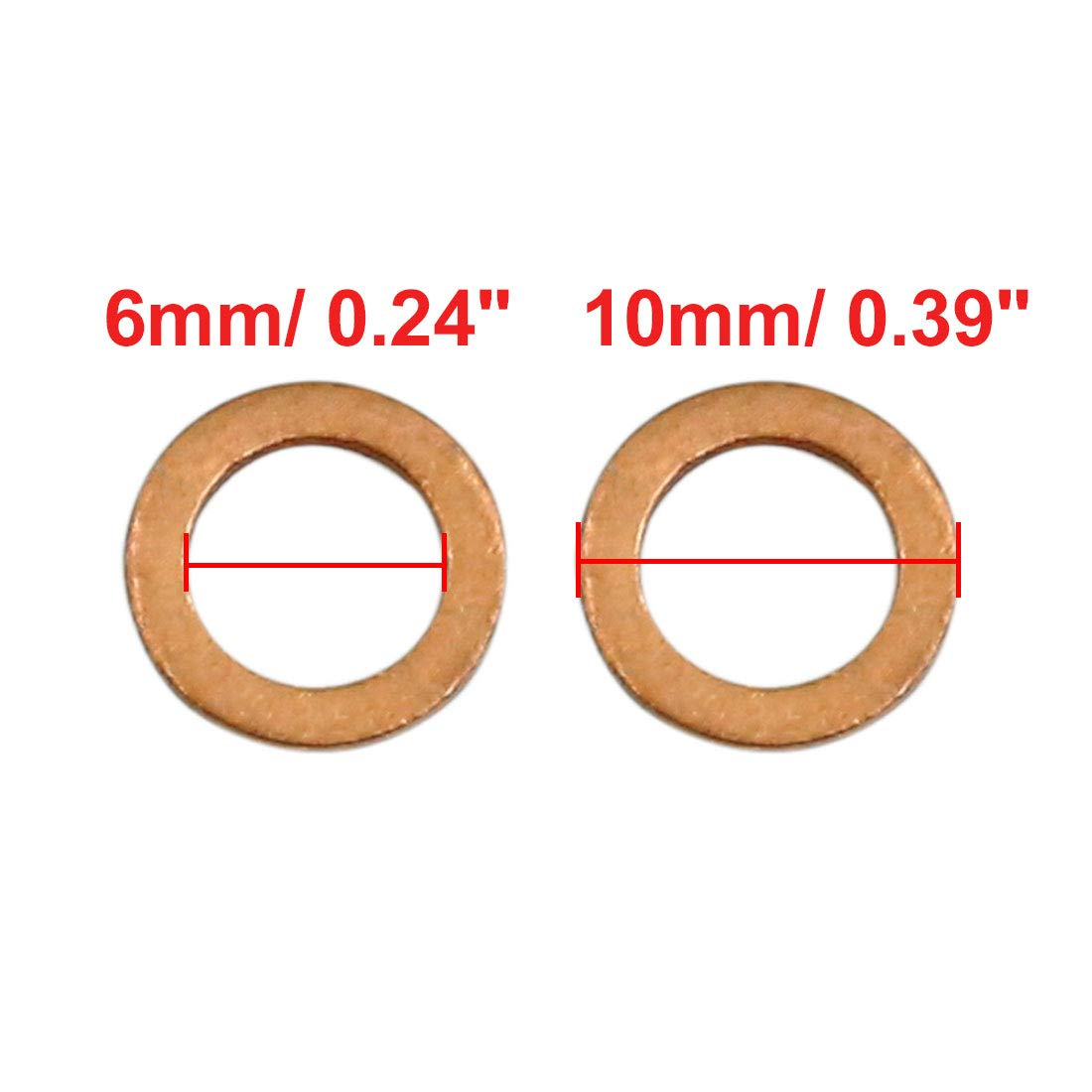 X AUTOHAUX 100 Pcs 6mm Inner Diameter Copper Washers Flat Sealing Gasket Rings for Car by X AUTOHAUX (Image #2)