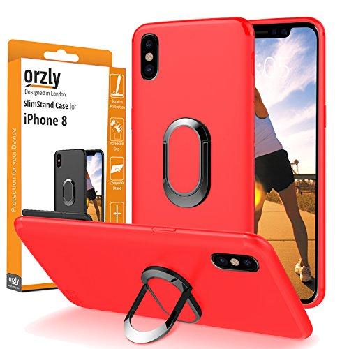 Funda iPhone X, Orzly Slim-Stand Case para el iPhone X/iPhone 10 (Modelo 2017) - Carcasa Ultra-Fina Protectora [Anti-Arañazos] en ROSA con Ring Stand Integrado para Mejor Agarre y Soporte para la Pant ROJO para iPhone X