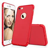 Image of iPhone 7 Red Case Cover - Aksuo Bumper Protective Back Matte TPU Soft Rubber Silicone Cover Phone Case and Nano Anti-scratch Skin Flim Screen Protector for Apple iPhone 8 4.7 inch