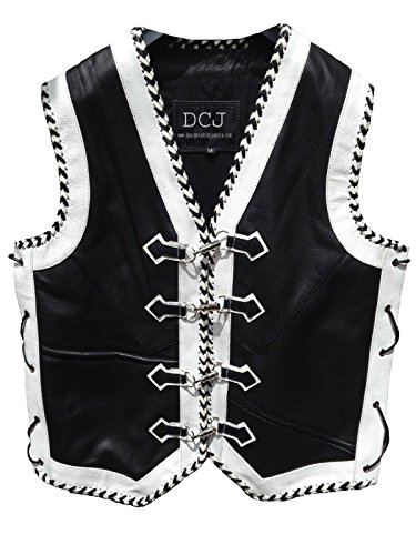 Leather Motorcycle Vest Custom Motorbike Biker Rider Waistcoat Hand Braided (XXL) by Design Custom Jackets