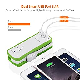 Poweradd 2-Outlet Mini Portable Travel Surge Protector with Dual 3.4A Smart USB Ports, Wrapped Cord Design [UL Listed]