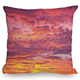 Throw Pillow Cushion Cover,Sky,Sunset Photography with Clouded Weather Tropical Scenic Hawaii Tranquility Decorative,Coral Dried Rose Orange,Decorative Square Accent Pillow Case