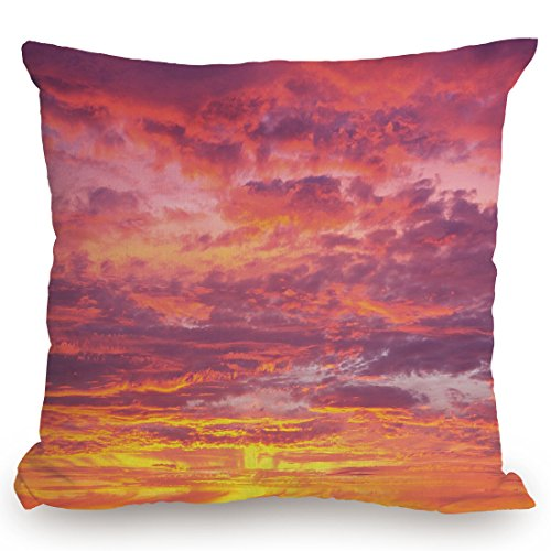 Throw Pillow Cushion Cover,Sky,Sunset Photography with Clouded Weather Tropical Scenic Hawaii Tranquility Decorative,Coral Dried Rose Orange,Decorative Square Accent Pillow Case by KissCase