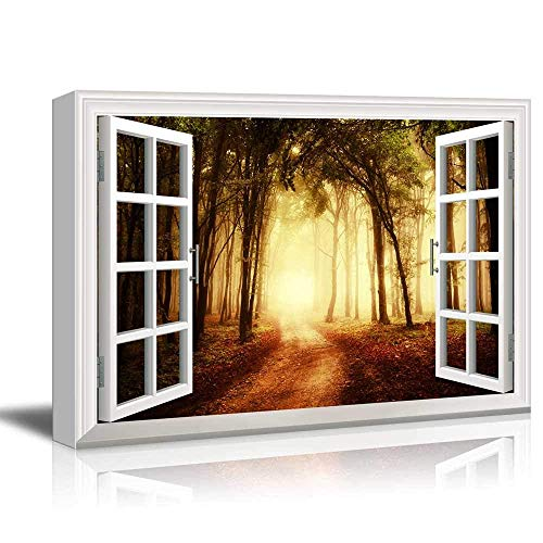 White Window Looking Out Into a Road That Leads to a Bright Forest