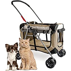 """PetLuv """"Happy Cat Premium 3-in-1 Soft Sided Detachable Pet Carrier, Travel Crate, and Pet Stroller - Locking Zippers, Comfy Plush Nap Pillow, Airy Windows, Sunroof, Reduces Anxiety"""