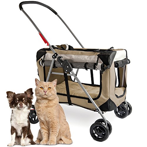 "PetLuv ""Happy Cat Premium 3-in-1 Soft Sided Detachable Pet Carrier, Travel Crate, and Pet Stroller - Locking Zippers, Comfy Plush Nap Pillow, Airy Windows, Sunroof, Reduces Anxiety"