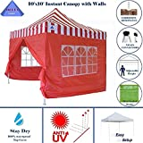 10'x10′ Ez Pop up Canopy Party Tent Instant Gazebo 100% Waterproof Top with 4 Removable Sides Red Stripe – E Model By DELTA Canopies