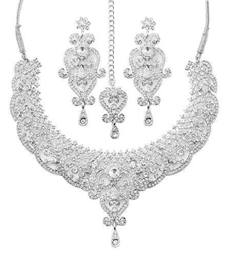 Touchstone Indian Bollywood Royal Look Marvelous Designer Jewelry Necklace Set Embellished for - Jewelry Bridal Designer
