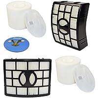 HQRP 2-pack Filter Kit (HEPA+ Foam & Felt) for Shark NV831 NV835 NV830 series DuoClean Powered Lift-Away Vacuum, XHF650 XFF650 Replacement + HQRP Coaster