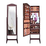 SogesHome Jewelry Cabinet with Full-Length Mirror Lockable Standing Jewelry Armoire Organizer, Brown L062-C-SH