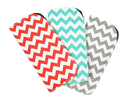 3 Pack Soft Slip In Eyeglass Case For Women & Men- Chevrons In Red, Teal & - Optical Fashion Dallas