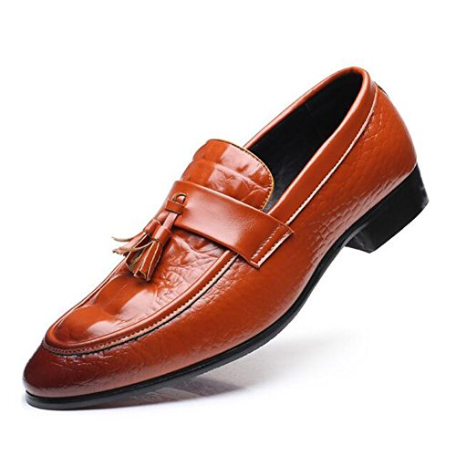 HUAN Men's Fashion Walking Shoes Color Comfort Spring PU amp; Yellow Career Black Size 38 Casual Red Office Wedding Shoes Loafers 008Brwqxd