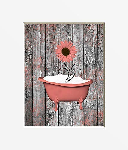 Coral Gray Rustic Bathroom Wall Decor, Sunflower Decor, Rustic Country Farmhouse Bath Matted 5x7, 8x10, 11x14 Home Decor Picture (Wall Bathroom Decor Coral)