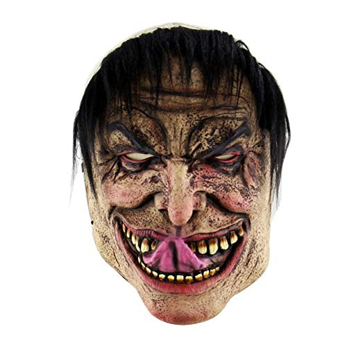 (AILIUJUNBING Festival Party Supplies Halloween Latex Mask Horrifying Mask Latex Mask with Hat for Masquerade Halloween Costume Bar)