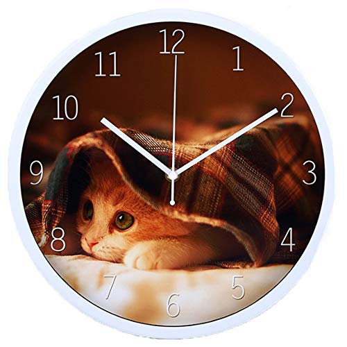 Justup Kids Wall Clock, 12 Inch Metal Silent Round Decorative Wall Clock Lovely Cat Battery Operated with Non-Ticking Quartz Movement and HD Glass for Home Bedroom Kitchen (White) - Metal Cat Clock