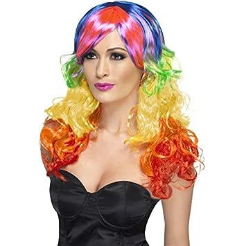 Aptafete Peluca arco iris rizada, multicolor