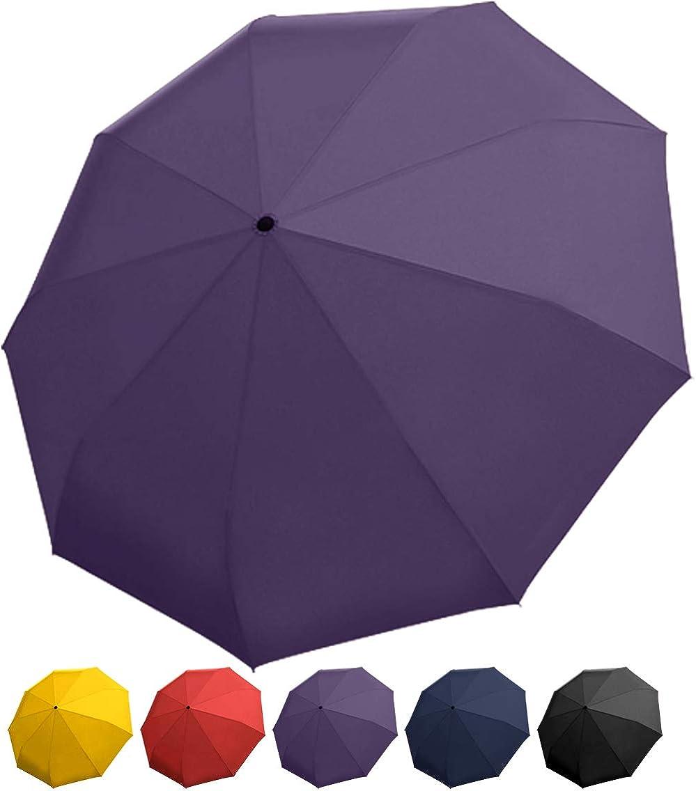 Semi Auto Open Manual Close Umbrella Big Long Windproof Waterproof Fiber Umbrella For Female,Purple