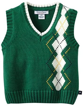 Kitestrings Baby-Boys Infant Argyle Sweater Vest, Tennis Green, 12 ...