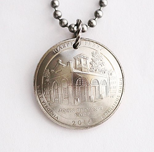 (Harper's Ferry Commemorative Quarter Domed Coin Necklace West Virginia 2016)