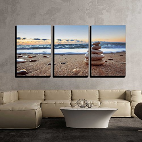 3 Piece Canvas Wall Art - Stones Balance on Beach, Sunrise Shot - Modern Home Art Stretched and Framed Ready to Hang - 16