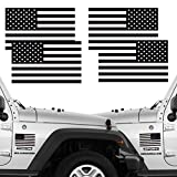 CREATRILL Reflective Subdued American Flag Stickers 2 Pairs Bundle 3' X 5' Tactical Military Flag Reverse USA Decal for Jeep, Ford, Chevy or Hard Hat, Car Vinyl Window Bumper Decal Sticker