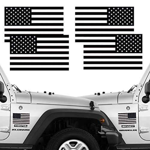 - CREATRILL Reflective Subdued American Flag Stickers 2 Pairs Bundle 3