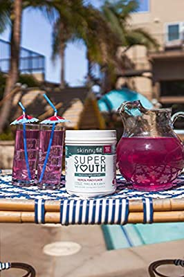SkinnyFit Super Youth Collagen Powder Tropical Punch Flavor, Types I, II, III, V and X, Joint & Bone Support, Glowing Hair, Skin, and Nails, 58 Servings