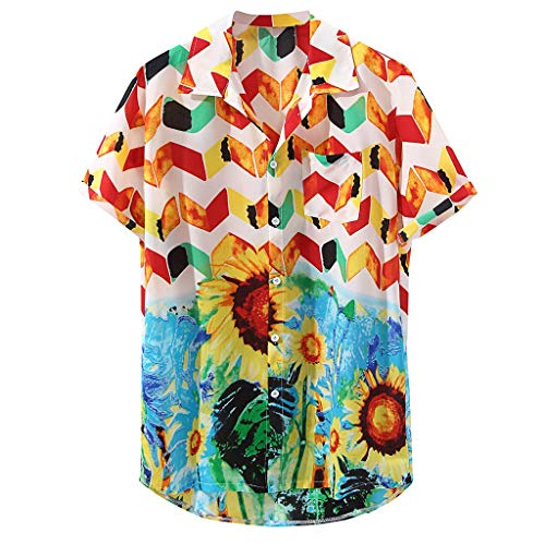 Lovygaga Popular Men Summer Retro Sunflower Print Plus Size Cotton Blouse Tops Casual Short Sleeve Button Beach Tops Yellow