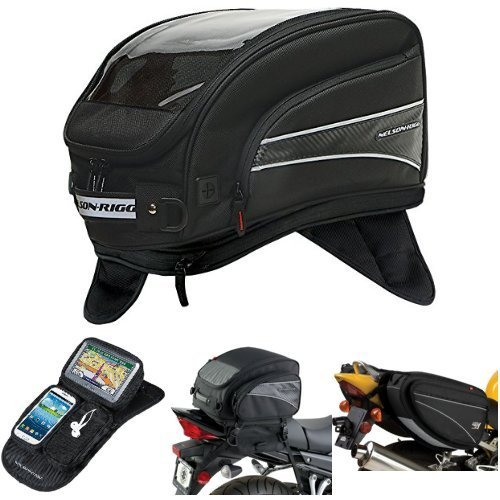 Nelson-Rigg CL-2016-MG Black X-Large Magnetic Mount Journey Tank Bag,  CL-GPS-MG Black Magnetic Mount Journey GPS Mate,  (CL-1040-TP) Black Jumbo Expandable Tail Bag,  and  CL-950 Black Deluxe Sport Touring Saddle Bag Bundle