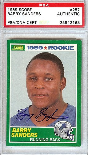 Barry Sanders Signed 1989 Score Rookie Card 257 Detroit